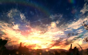 Picture the sky, sunset, home, rainbow