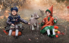 Picture leaves, branches, nature, children, animal, basket, vegetables, costumes, peppers, goat, Artem Castle