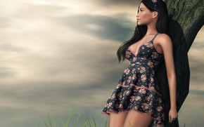 Picture girl, nature, rendering, dress