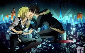 Picture night, the city, blood, guys, Durarara, Durarara, Shizuo Heiwajima, Of Izaya Orihara