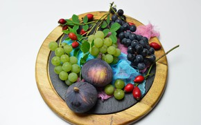 Picture berries, briar, grapes, Board, figs, gauze