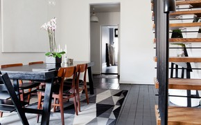 Picture room, interior, ladder, dining room