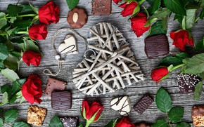 Picture romance, roses, candy, heart, composition, Valentine's day