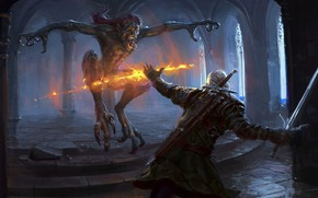 Picture monster, sword, being, the Witcher, Geralt of Rivia, The Witcher 3: Wild Hunt