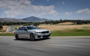 Picture asphalt, grey, speed, track, BMW, sedan, 4x4, 2018, four-door, M5, V8, F90, M5 Competition
