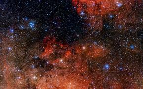 Picture Nebula, Constellation Sagittarius, VLT Survey Telescope, Open star cluster, Messier 18, Star cluster