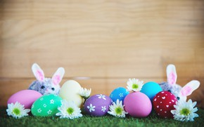 Picture flowers, holiday, eggs, mouse, Easter, weed