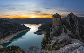 Picture landscape, mountains, nature, river, rocks, Church, Spain, Catalonia, sanctuary, Mare de Déu de la Pertusa