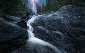 Picture the storm, forest, rocks, lightning, waterfall, Norway, Norway, Vassfaret, Vassfaret