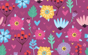 Picture flowers, background, texture, flowers, background, pattern, berries, lilac, Seamless