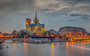 Wallpaper the sky, clouds, trees, lights, river, France, Paris, HDR, home, the evening, lights, channel, bridges, ...