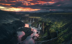 Picture the sky, river, rocks, view, waterfalls, Iceland, the view from the top