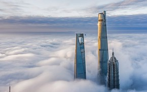 Picture clouds, tower, China, Shanghai, skyscrapers