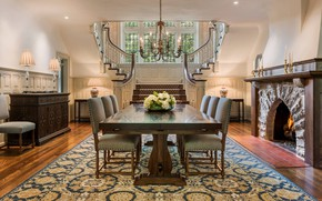 Picture design, style, Villa, interior, fireplace, dining room, luxury