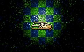 Picture wallpaper, sport, logo, NFL, glitter, checkered, Seattle Seahawks