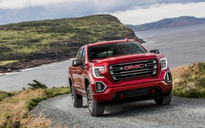 Picture red, rocks, pickup, GMC, Sierra, AT4, 2019