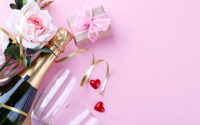 Picture rose, gift, champagne