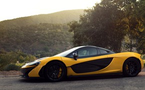 Picture side view, Yellow, Supercar, McLaren P1