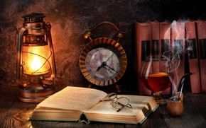 Picture watch, glass, books, lamp, tube, glasses, still life, cognac
