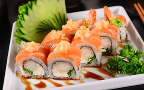 Picture cheese, cucumber, shrimp, sauce, parsley, rolls, salmon, Slivochny cheese