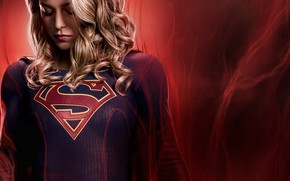 Picture girl, red, background, fiction, costume, the series, poster, TV Series, Supergirl, Season 4, Melissa Benoist, …