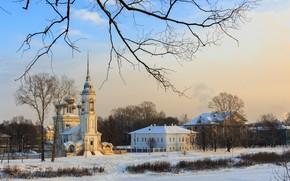 Picture winter, snow, landscape, the city, building, home, temple, Vologda