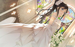 Picture stained glass, the bride, veil, wedding dress, the bride's bouquet, the Church, Hentai Ouji to …