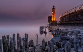 Picture sea, lighthouse, Landscape, Germany, Bavaria, Lindau on lake Constance