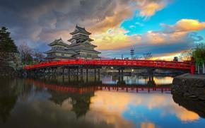 Picture clouds, landscape, bridge, pond, reflection, Japan, Matsumoto castle, Matsumoto castle