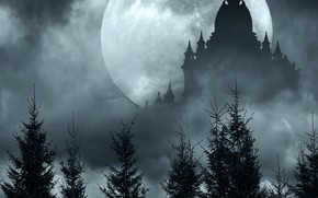 Picture the sky, grass, clouds, trees, night, fog, castle, the moon, silhouette, fantasy, bokeh