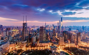 Picture city, lights, China, Shanghai, twilight, sky, sunset, clouds, buildings, cityscape, skycrapers