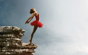 Picture girl, clouds, pose, rock, stones, open, makeup, figure, dress, hairstyle, abyss, brown hair, is, ballerina, ...