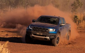 Picture blue, Ford, plants, dust, Raptor, pickup, 2018, Ranger