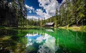 Picture forest, trees, lake, house, reflection, Italy, Italy, Cortina d'ampezzo, Cortina d'ampezzo, Озеро Гедина, Ghedina Lake