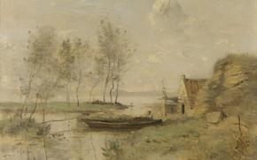 Picture landscape, boat, picture, Souvenir of Palluel, Camille Corot, Jean-Baptiste-Camille Corot