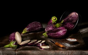 Picture Board, food, eggplant, knife, black background, still life, vegetables, circles, items, cutting, composition, sieve
