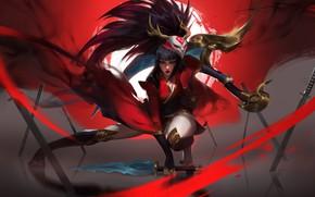 Picture sword, katana, ninja, mercenary, demon mask, blood Moon, ninja, woman warrior, by Darya Kozemyki