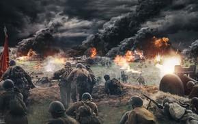 Picture Smoke, Fire, War, People, Machine gun, Soldiers, Shooting, USSR, Gun, WWII, Tanks, The Germans, Attack, …