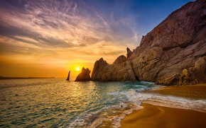 Picture sea, landscape, sunset, nature, rocks, coast, beauty