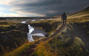 Picture Nature, Path, River, People, Landscape, Iceland, Top