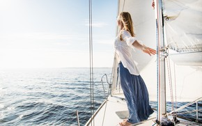 Picture sea, girl, yacht
