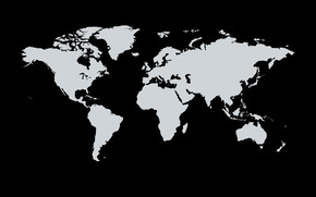 Picture the world, continents, black background, world map, continents, white color