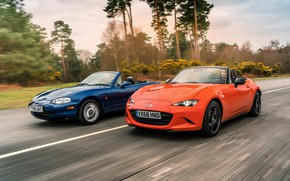 Picture orange, blue, Mazda, MX-5, roadsters, fourth generation (ND), the second generation (NB)
