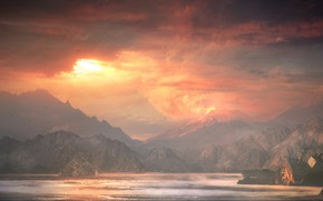 Picture Sunset, The sun, Mountains, The volcano, Court, Light, The ship, Landscape, Concept Art, Environments, Alexey …