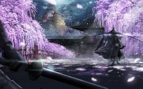 Picture spring, sword, samurai
