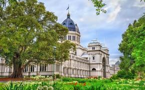 Wallpaper greens, trees, flowers, Australia, Museum, Palace, Melbourne, Royal Exhibition Building