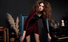 Picture girl, pose, hair, frame, frame, dress, Disha Shemetova, Eugene Marklew, DISHA Shemetova