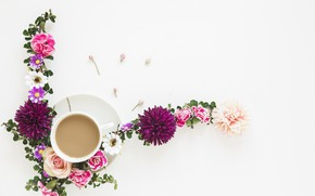 Picture flowers, rose, coffee, composition