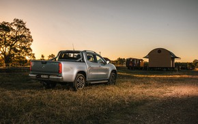 Picture grass, Mercedes-Benz, the evening, Parking, pickup, 2018, X-Class, gray-silver
