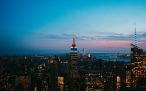 Picture city, lights, USA, twilight, sky, night, cloud, New York, Manhattan, NYC, New York City, city ...